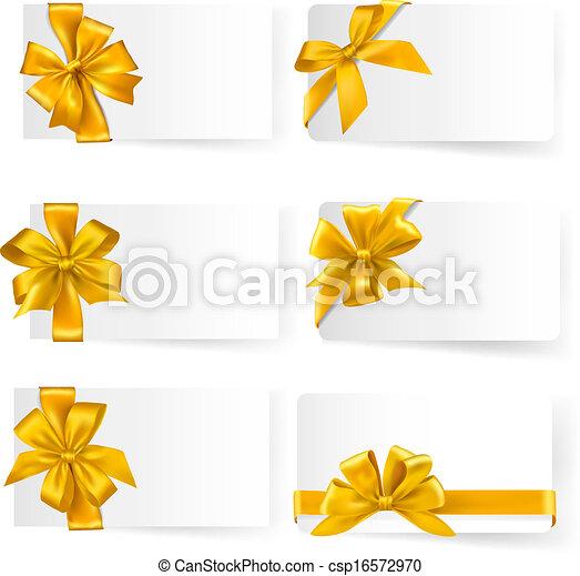 jogo, ouro, presente, arcos, vector., ribbons. - csp16572970
