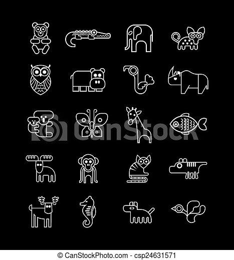 jogo, peixe, vetorial, animal, pássaro, ícone - csp24631571