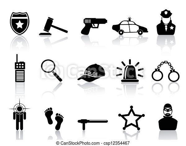 jogo, polícia, ícones - csp12354467