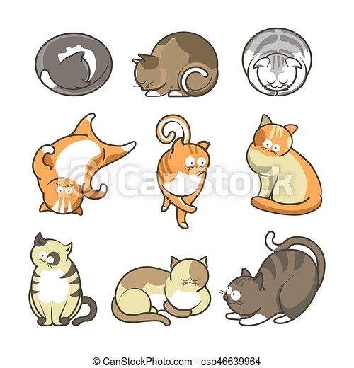 Jogo Posicoes Gatos Vario Branca Caricatura Cute Andar