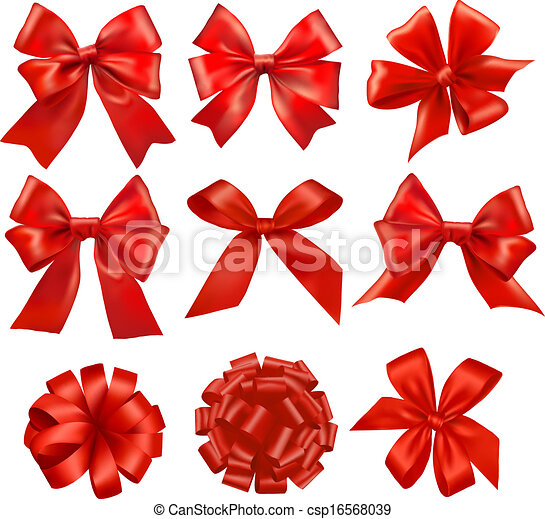 jogo, presente, grande, arcos, vector., ribbons., vermelho - csp16568039
