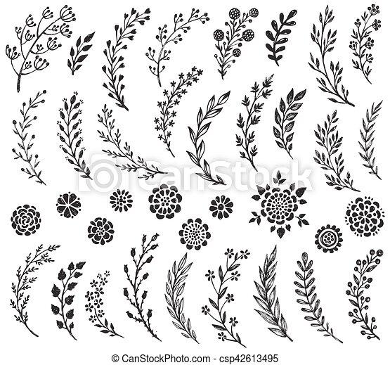 Jogo Ramos Mao Grande Vetorial Desenhado Flores Decorativo
