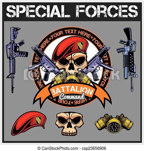 jogo, -, remendo, vetorial, forças, especiais, estoque - csp23656906
