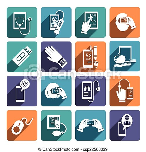 jogo, saúde, digital, ícones - csp22588839