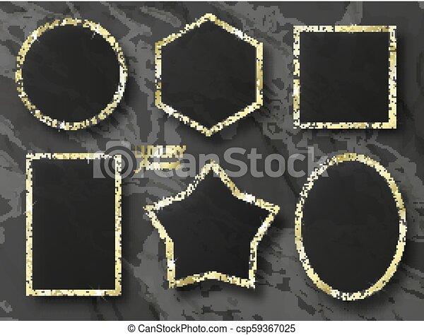 jogo, sequins, ouro, ilustração, vetorial, bordas - csp59367025