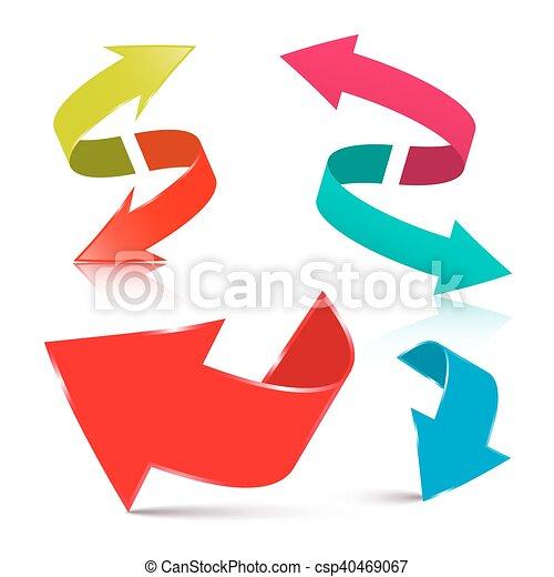 jogo, seta, -, setas, isolado, vetorial, fundo, branca, 3d - csp40469067