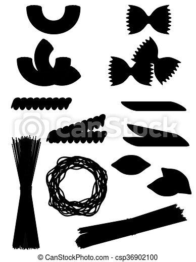 jogo, silueta, esboço, ícones, ilustração, vetorial, pretas, macarronada - csp36902100