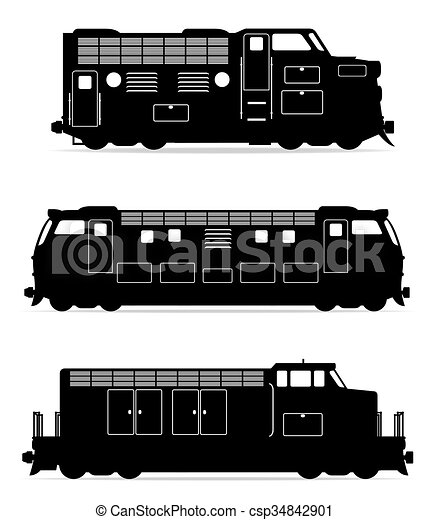 jogo, silueta, esboço, ícones, trem, ilustração, vetorial, pretas, estrada ferro, locomotiva - csp34842901