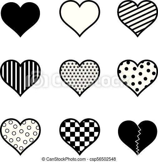 jogo, silueta, ilustração, vetorial, pretas, corações, ícone - csp56502548