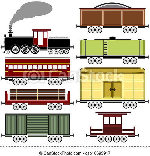 jogo trem, vapor, locomotiva - csp16693917