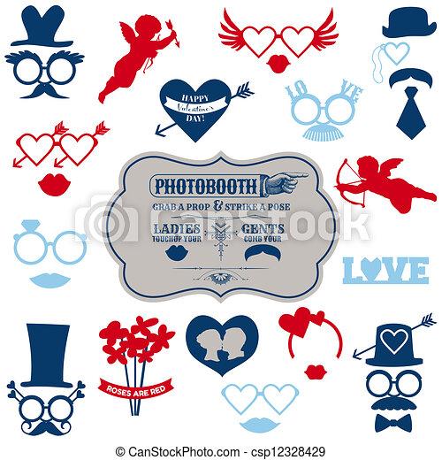 jogo, valentine, óculos, lábios, -, máscaras, vetorial, bigodes, photobooth, estacas, chapéus partido, dia - csp12328429