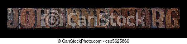Johannesburg in old wood type - csp5625866