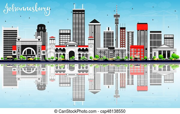 Johannesburg skyline with gray buildings blue sky and clipart johannesburg skyline with gray buildings blue sky and reflections csp48138550 altavistaventures Images
