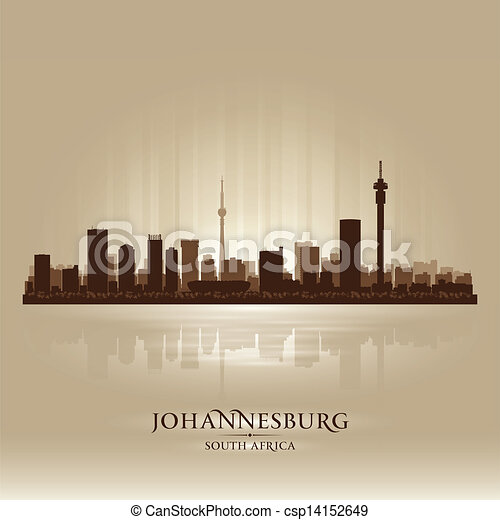 Johannesburg South Africa city skyline silhouette - csp14152649