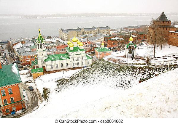 John the Baptist Church and Kremlin Nizhny Novgorod Russia in november - csp8064682