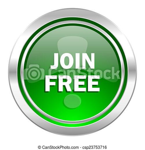 join free icon, green button - csp23753716
