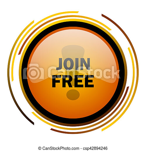 join free round design orange glossy web icon - csp42894246