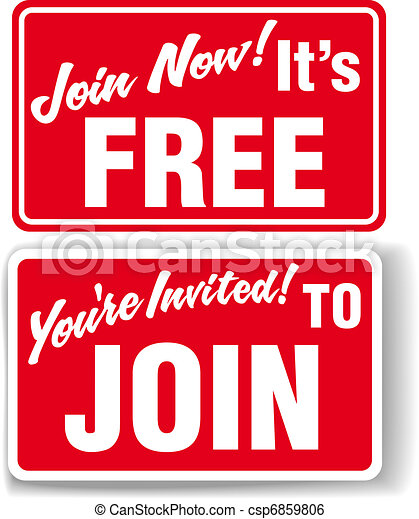 Join Now Free membership invitation signs - csp6859806