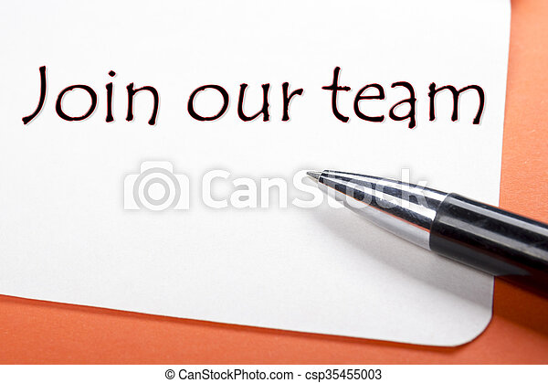 Join our team. Office desk table with notepad, pen. Top view.  - csp35455003