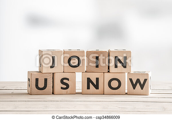 Join us now sign with wooden blocks - csp34866009
