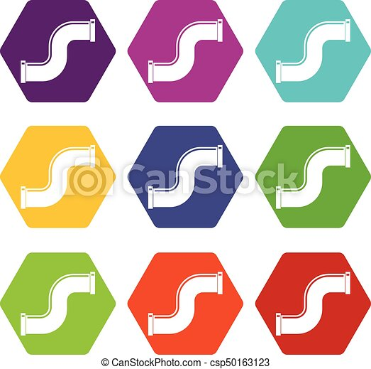 Joint pipe in form S letter icon set color hexahedron