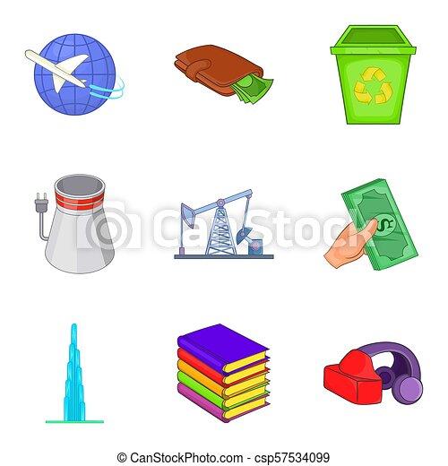 Joint Stock Company Icons Set Cartoon Style Joint Stock Company