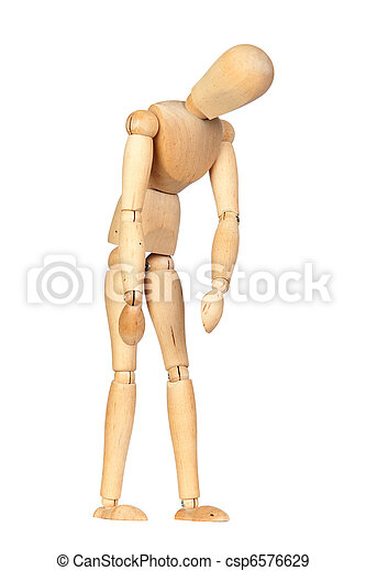 jointed wooden mannequin representing discouragement isolated on