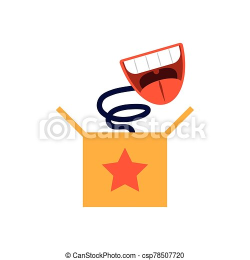 joke box with cartoon mouth laughing, flat style icon - csp78507720