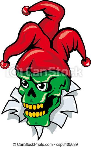 Joker skull on torned paper - csp8405639