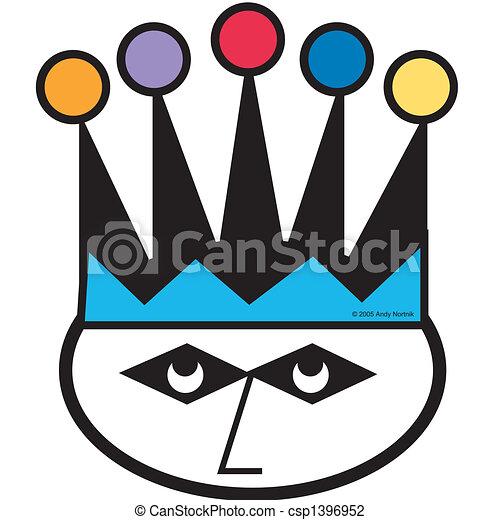 joker, vindima, jester, caricatura, retro - csp1396952
