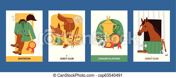 Jokey cards with clothing for horsemen, boots, trousers, helmet, gloves, equipment for horse riding. Invitation and greeting cards for jokey club vector illustration. - csp63540491
