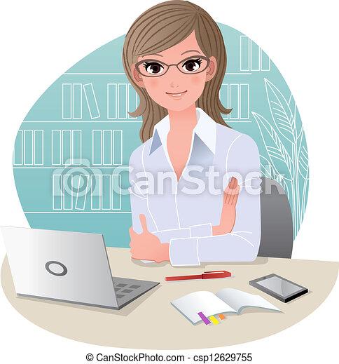 joli, affaires femme, bureau - csp12629755