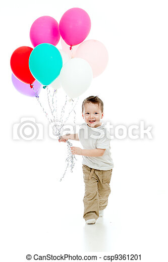 Jolly funny child boy with bunch of colorful ballons in his hand. Isolated on white. - csp9361201