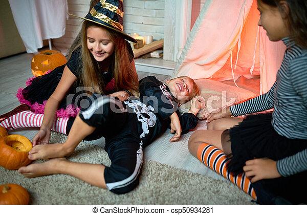 Jolly Girl Tickling Foot Of Friend Playful Cute Little