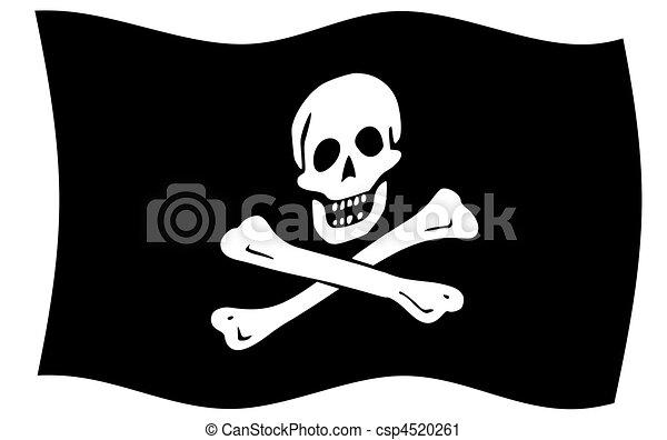 jolly roger flag illustration of jolly roger or skull and rh canstockphoto com jolly roger flag clipart Jolly Roger Outline