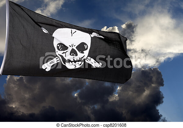 Jolly Roger (pirate flag) against storm clouds - csp8201608