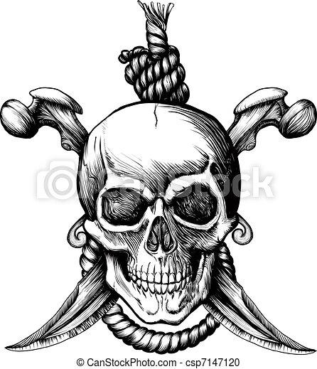 jolly roger skull original jolly rogger skull with two vector rh canstockphoto com Jolly Roger Drawing jolly roger clipart free