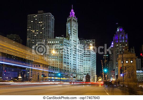 jonc, trafic, heure, chicago - csp17407643