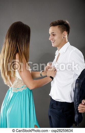 jong paar, bedrijfsverhouding, mensen - csp28259634