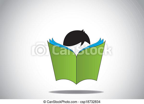 jonge, boek, lezende , open, smart, geitje - csp18732834