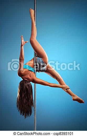 jonge, dans, pool, vrouw - csp8393101
