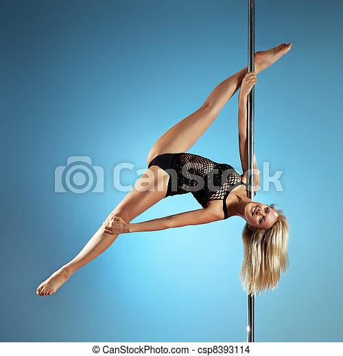 jonge, dans, pool, vrouw - csp8393114