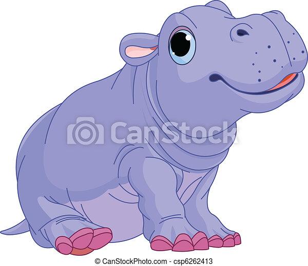 jongen, baby, spotprent, nijlpaard - csp6262413