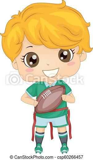 jongen, bal, illustratie, vlag, voet, geitje - csp60266457