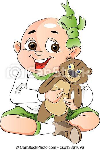 jongen, beer, illustratie, teddy - csp13361696