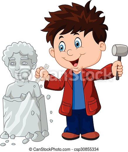 jongen, beitel, beeldhouwer, vasthouden - csp30855334