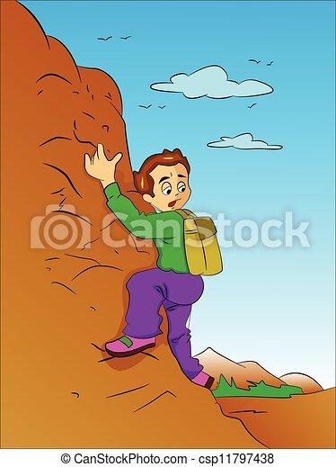 jongen, berg, illustratie, beklimming - csp11797438