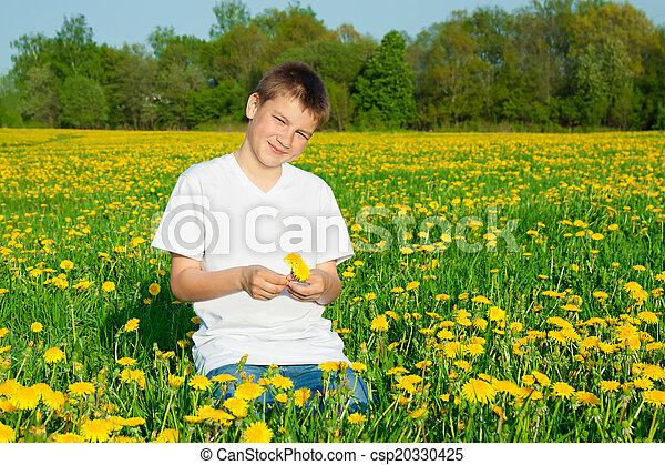 jongen, bloeien, weide, tiener - csp20330425