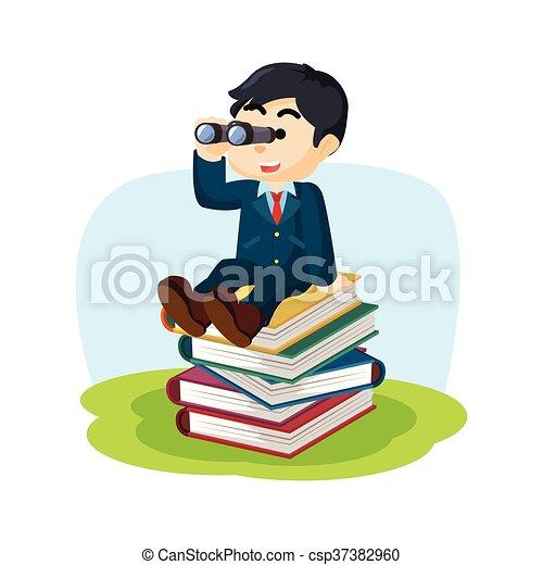 jongen, boek, stapel - csp37382960