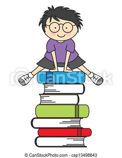 jongen, boekjes , enig, springt - csp13498843